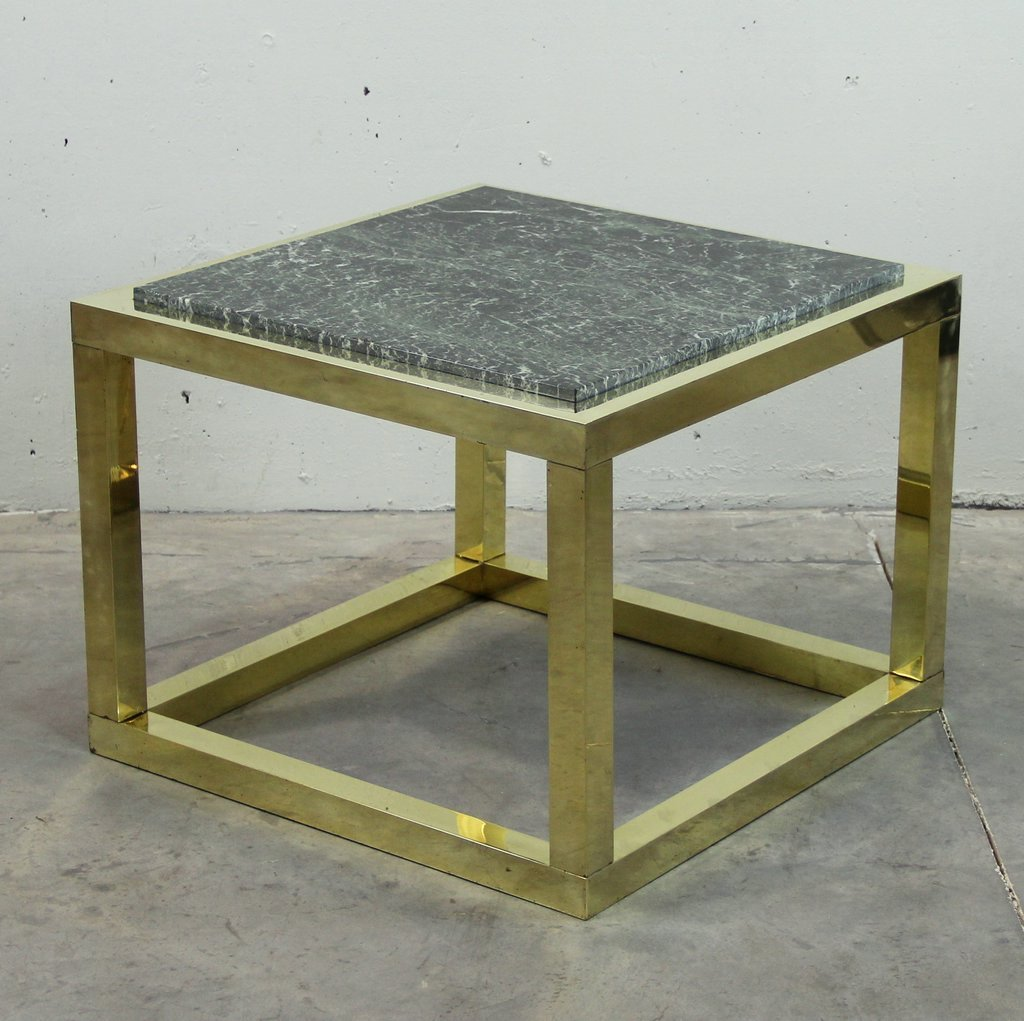 Vintage Spanish Brass And Green Veined Marble Coffee Table For Sale At Pamono