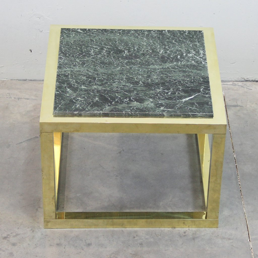 Tables greene s amish furniture part 2 - Vintage Spanish Brass And Green Veined Marble Coffee Table