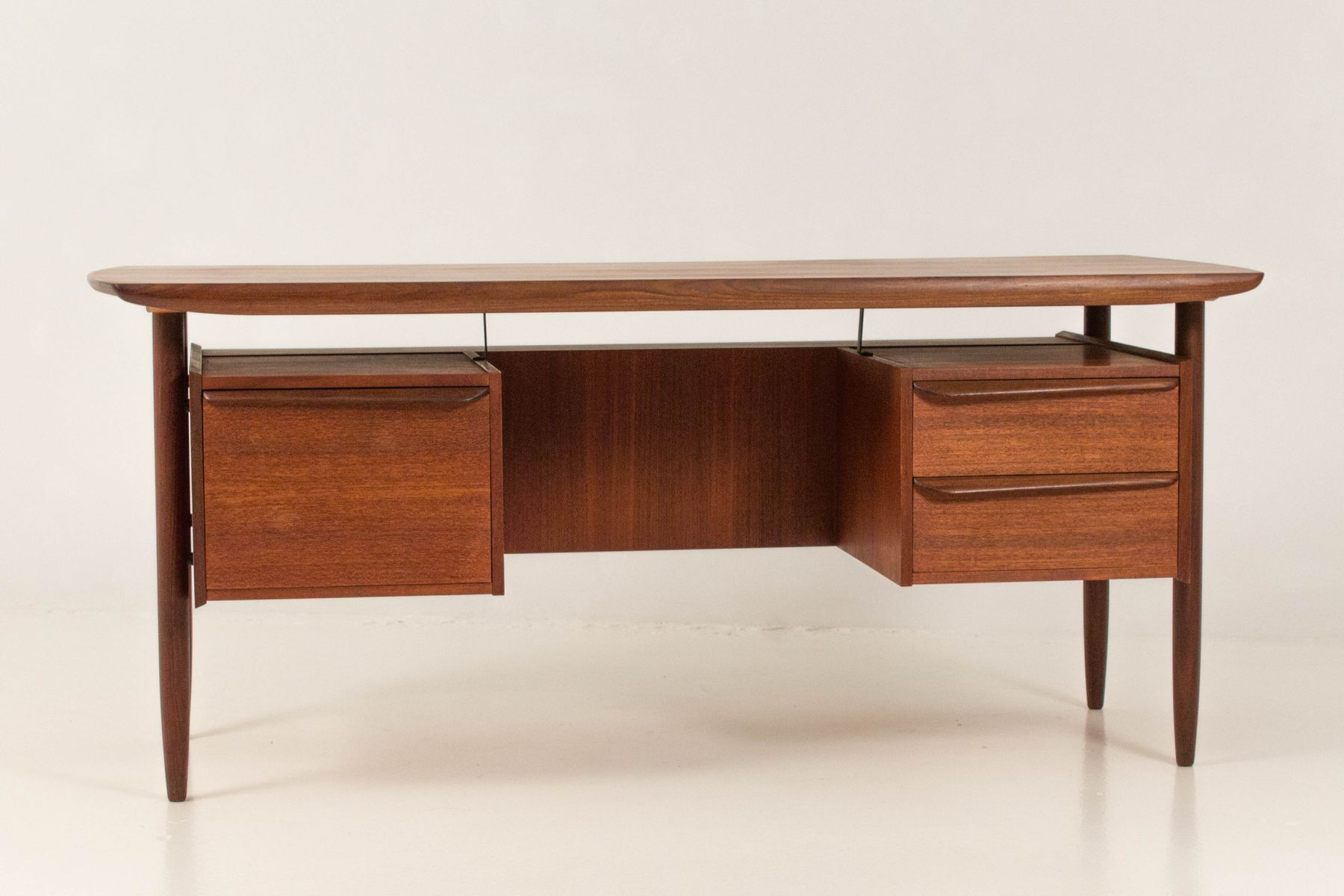 Mid century modern floating top desk and chair by for Floating desk for sale