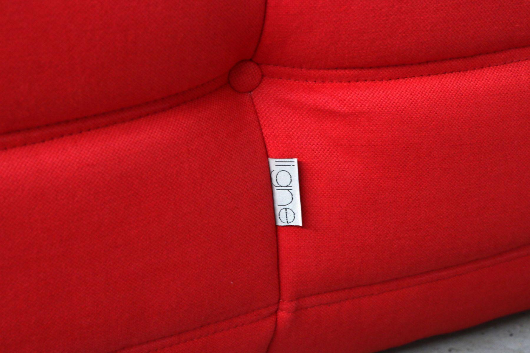 Canap deux places togo vintage rouge par ligne roset en vente sur pamono - Canape ligne roset solde ...