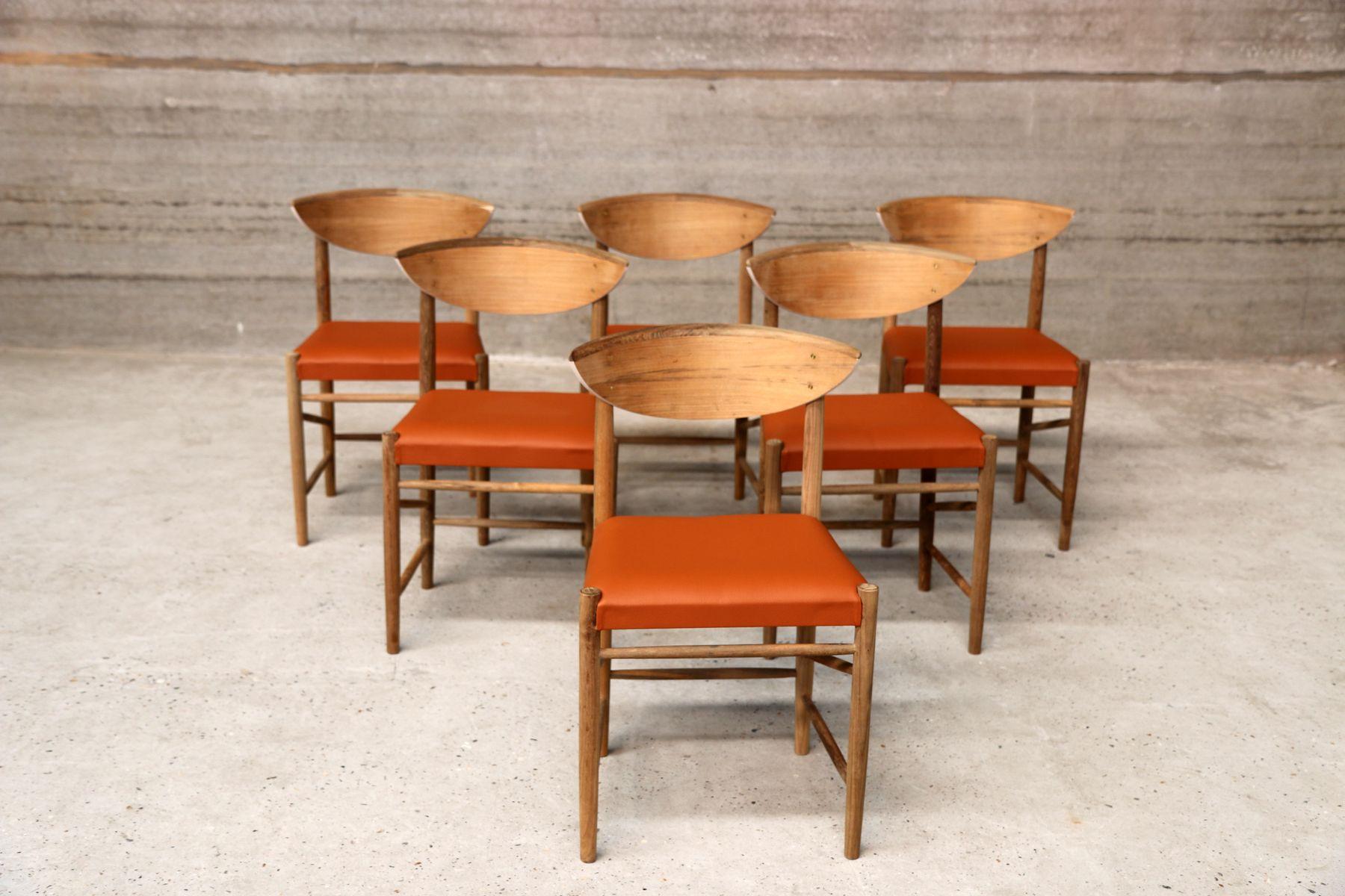 Vintage scandinavian orange vinyl dining chairs set of