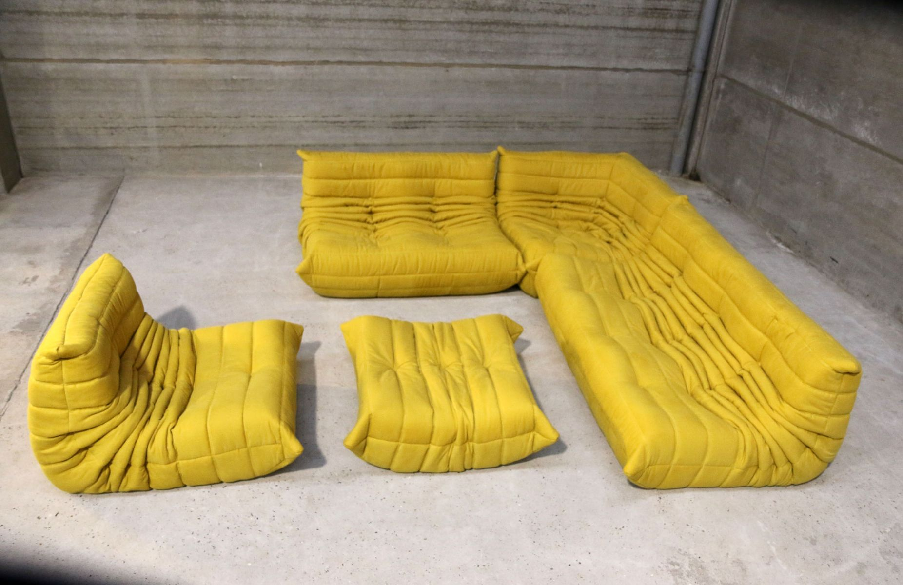 vintage yellow togo lounge set by michel ducaroy for ligne. Black Bedroom Furniture Sets. Home Design Ideas