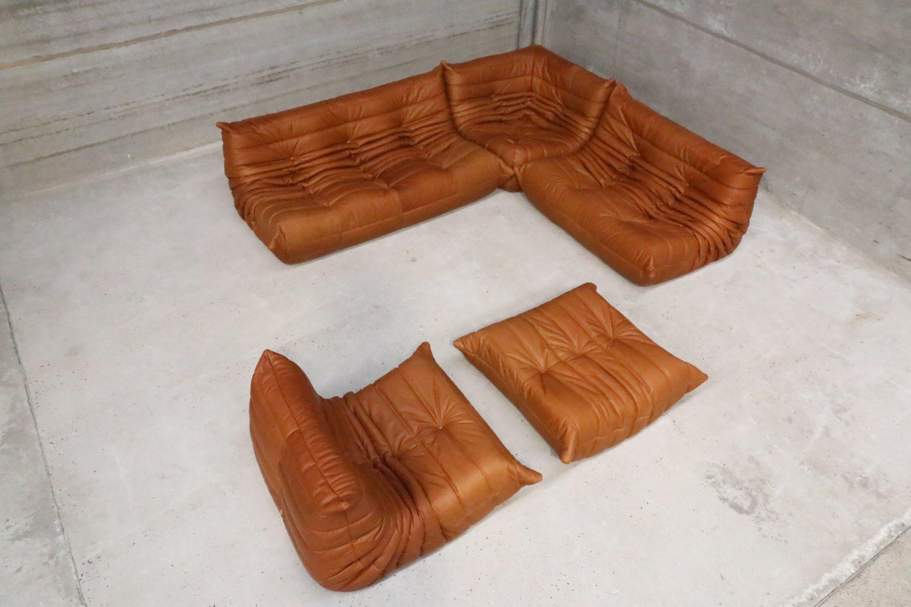 vintage cognac leather togo set by michel ducaroy for ligne roset for sale at pamono. Black Bedroom Furniture Sets. Home Design Ideas