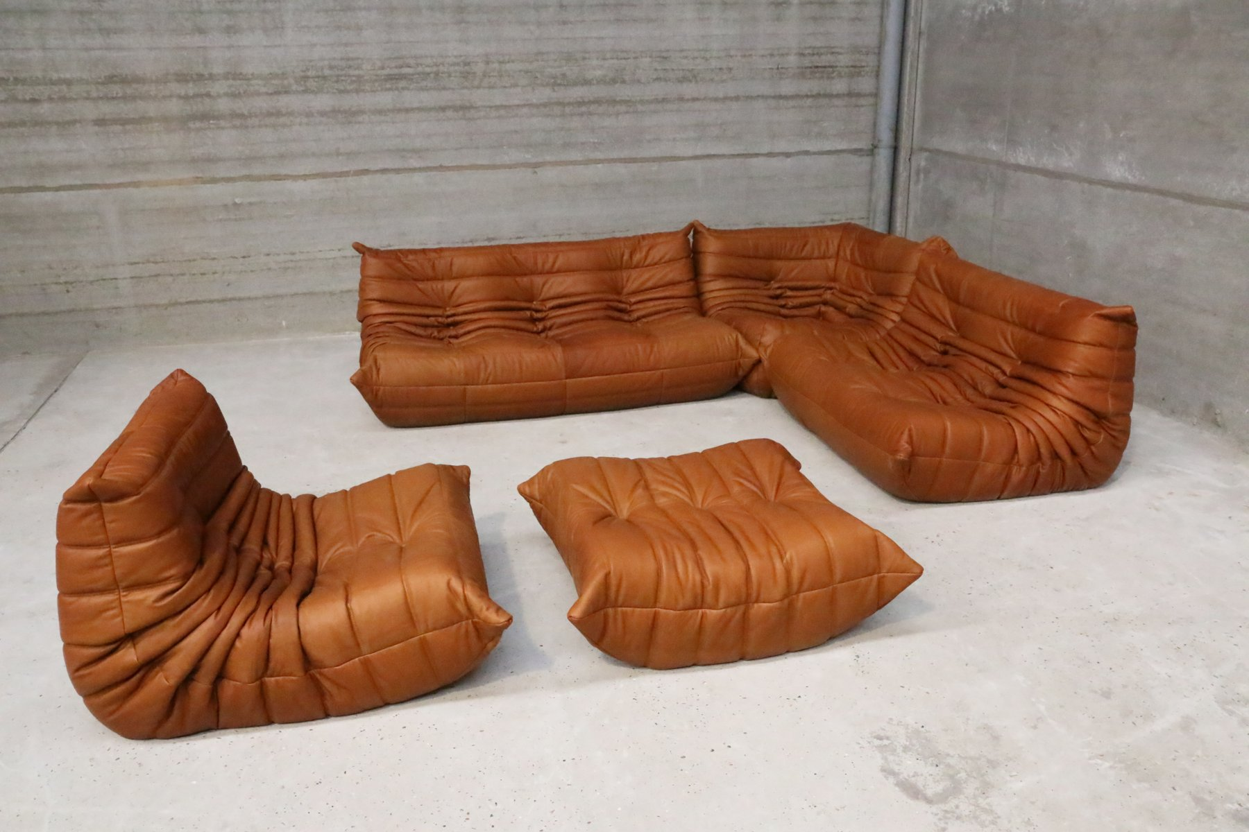 vintage cognac leather togo set by michel ducaroy for. Black Bedroom Furniture Sets. Home Design Ideas
