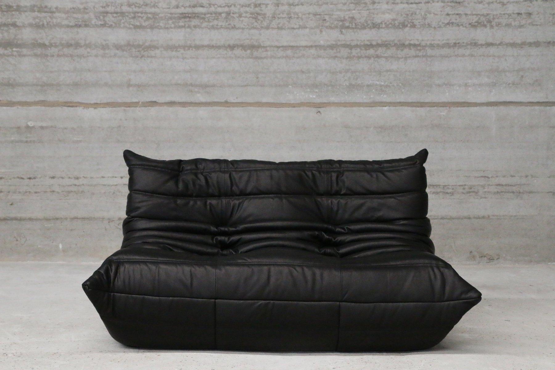 Set de canap s togo vintage en cuir noir par michel ducaroy pour ligne roset - Ligne roset togo prix ...