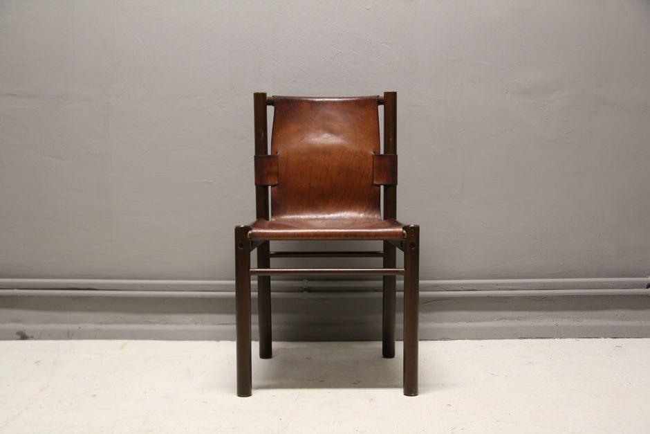 Sedia di pelle spessa di ibisco sedie italia anni 39 70 in for Sedia design anni 70