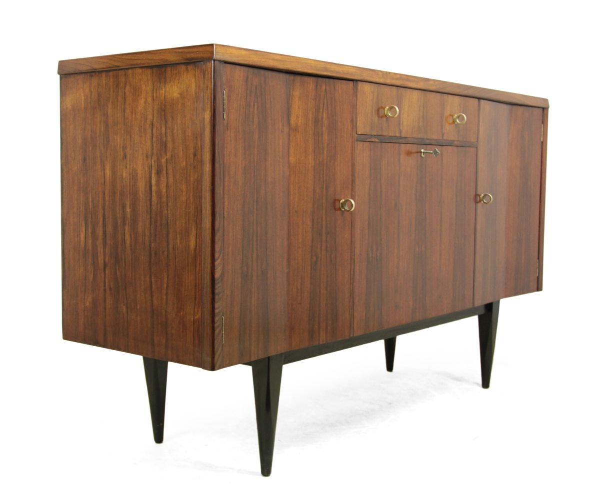 mid century rosewood sideboard with bar compartment 1960s for sale at pamono. Black Bedroom Furniture Sets. Home Design Ideas
