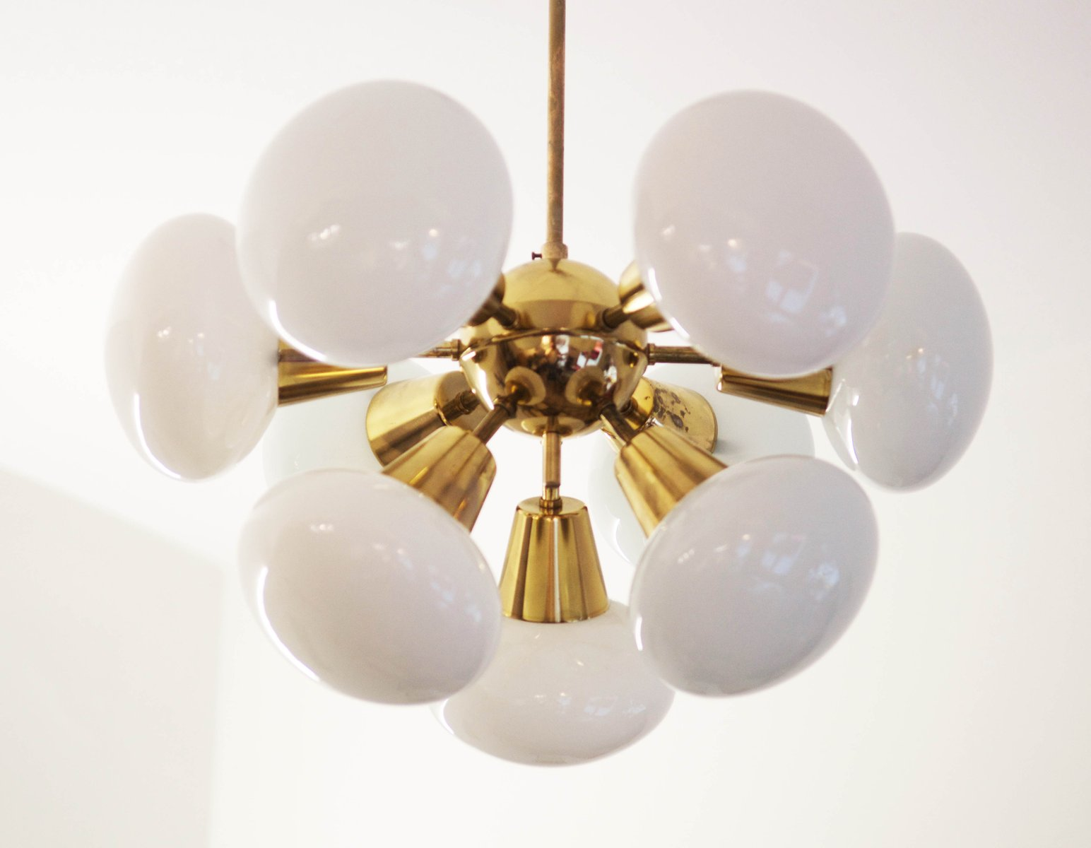 Mid Century Sputnik Milk Glass Chandelier 1960s For Sale