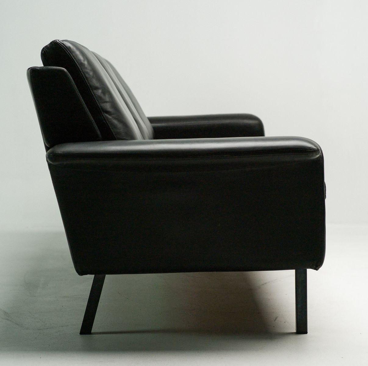 Black Leather Sofa By Arne Vodder For Fritz Hansen 1962