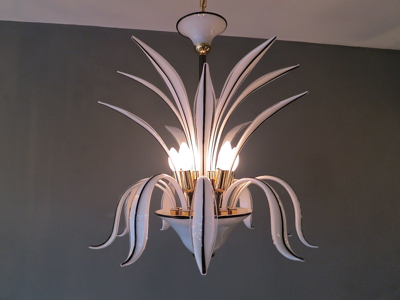 Italian murano glass leaf chandelier for sale at pamono italian murano glass leaf chandelier arubaitofo Choice Image
