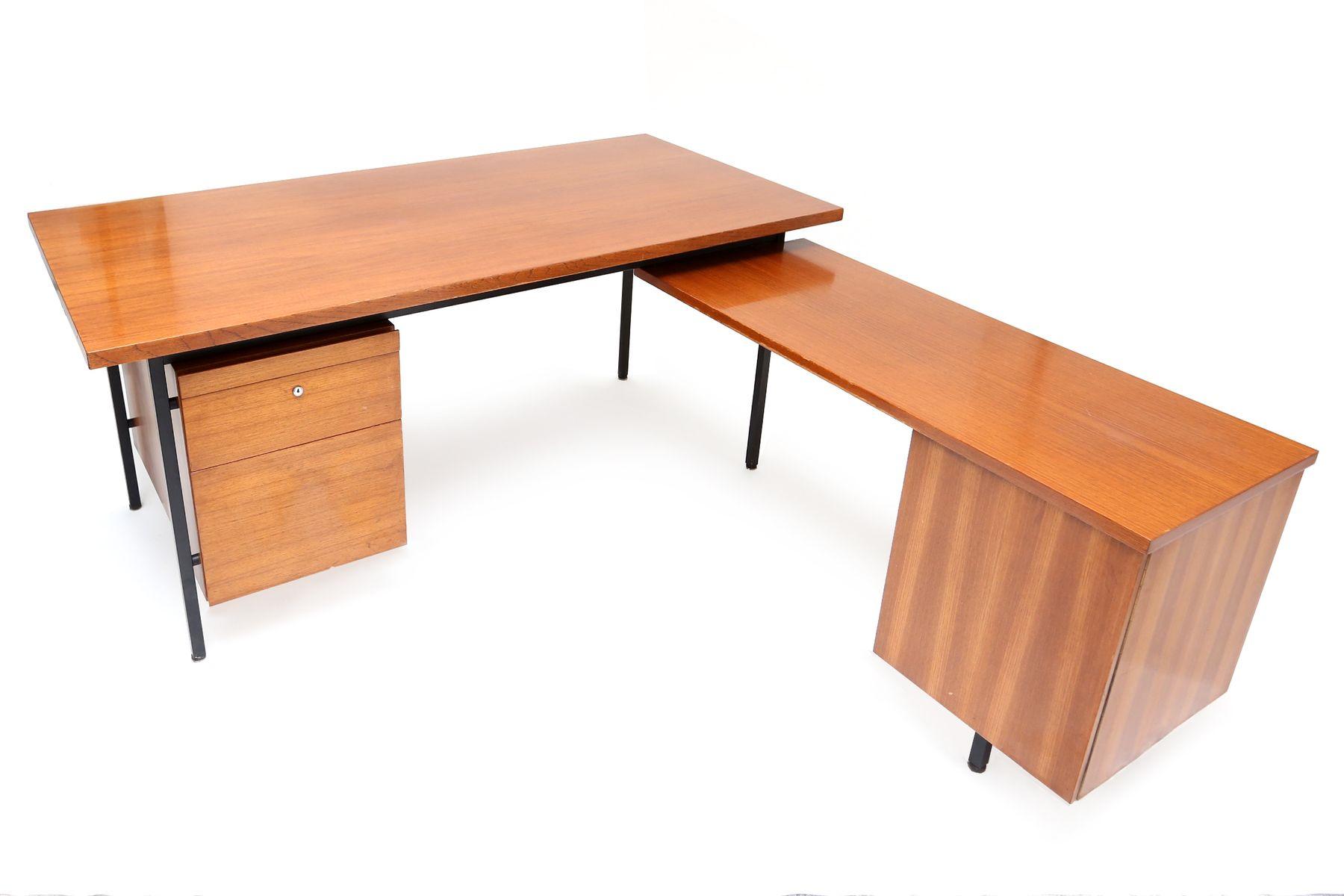 double bureau en l par florence knoll 1950s en vente sur pamono. Black Bedroom Furniture Sets. Home Design Ideas