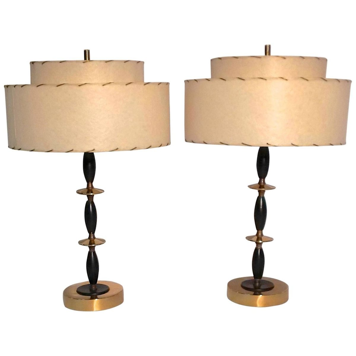 Mid Century Modern Atomic Table Lamps 1950s Set Of 2 For