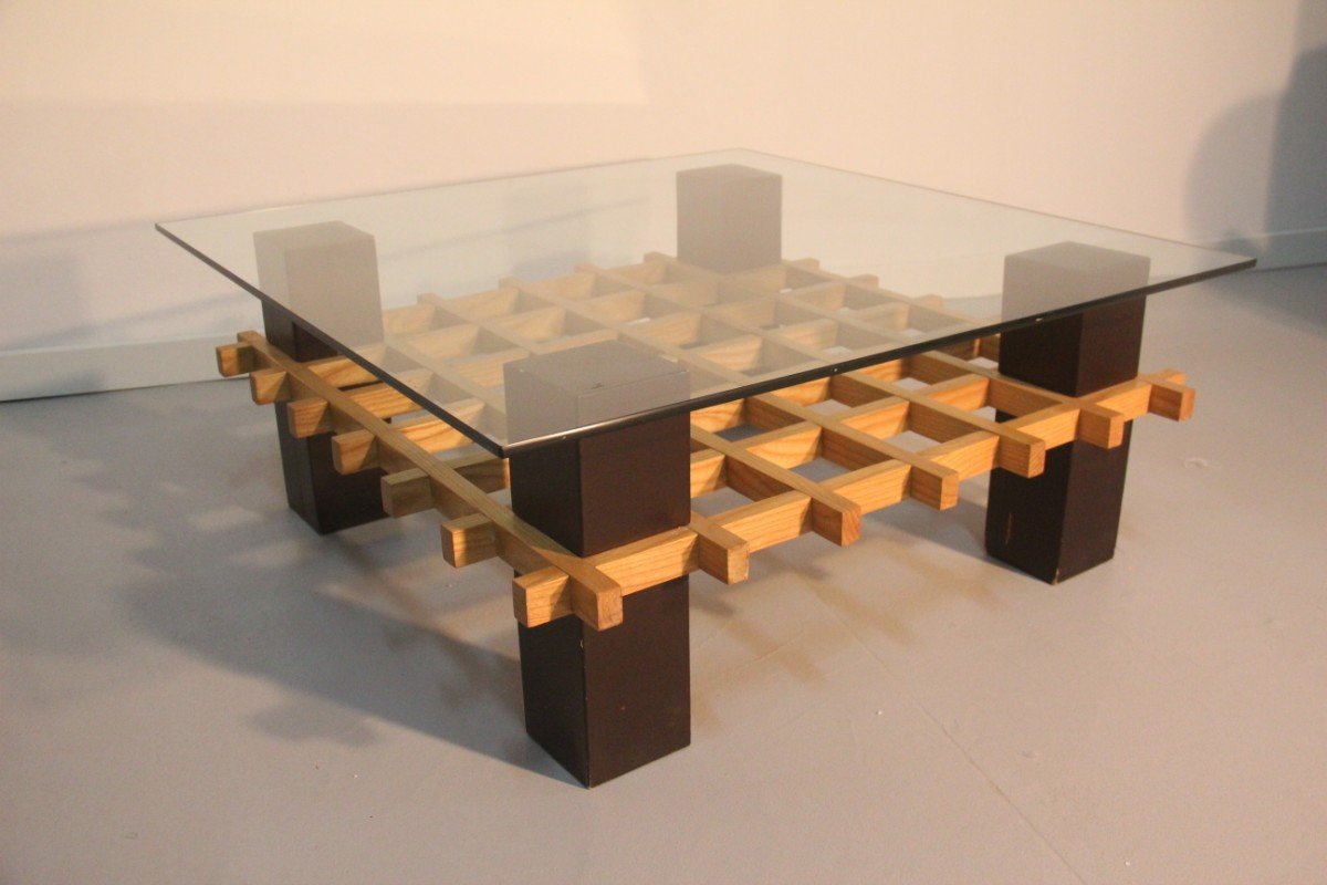 Minimalist Italian Wood and Glass Coffee Table, 1970s for sale at ...