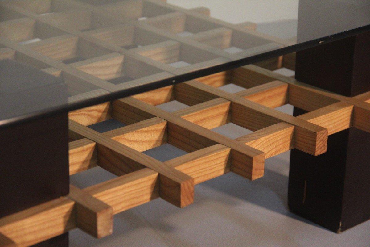 italian wood furniture. minimalist italian wood and glass coffee table 1970s furniture