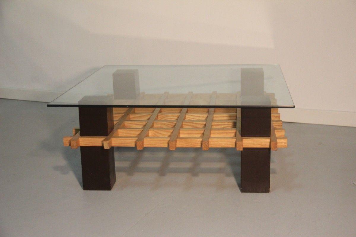Minimalist Italian Wood And Glass Coffee Table 1970s For Sale At Pamono
