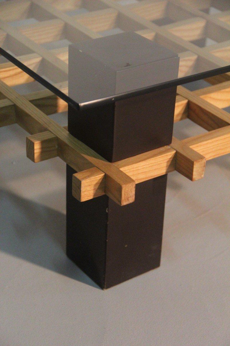 italienischer minimalistischer couchtisch aus holz glas 1970er bei pamono kaufen. Black Bedroom Furniture Sets. Home Design Ideas