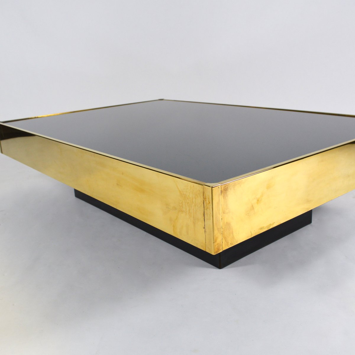 French brass mirror glass coffee table by willy rizzo for French glass coffee table
