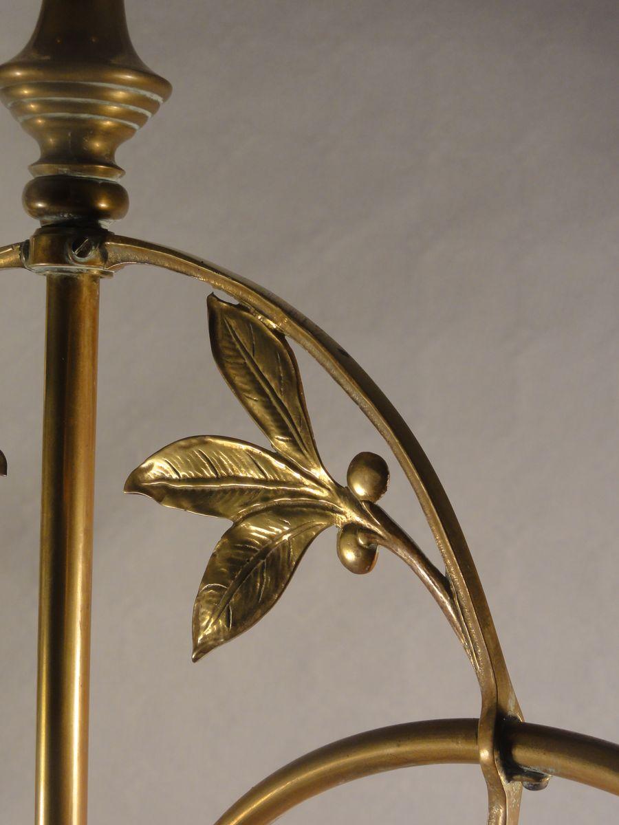Art Nouveau Double Arm Brass Pendant Lamp 1900s For Sale