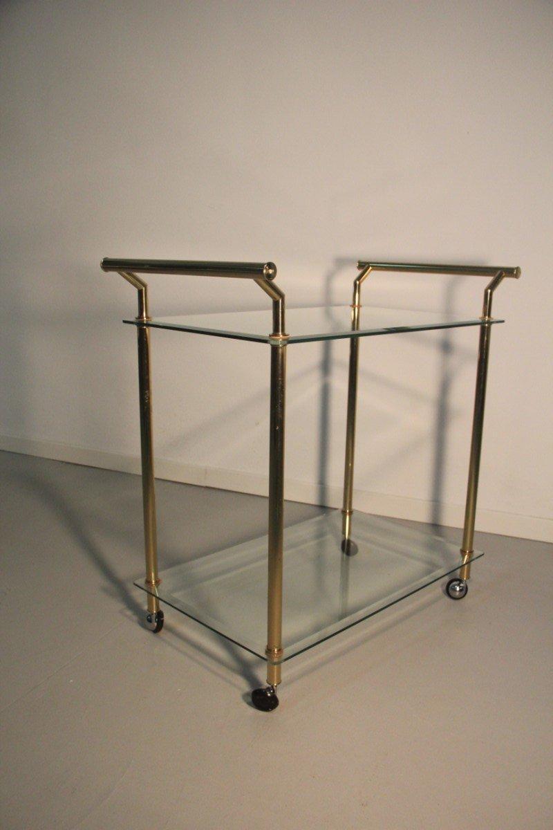 servierwagen aus vergoldetem messing glas 1970er bei pamono kaufen. Black Bedroom Furniture Sets. Home Design Ideas