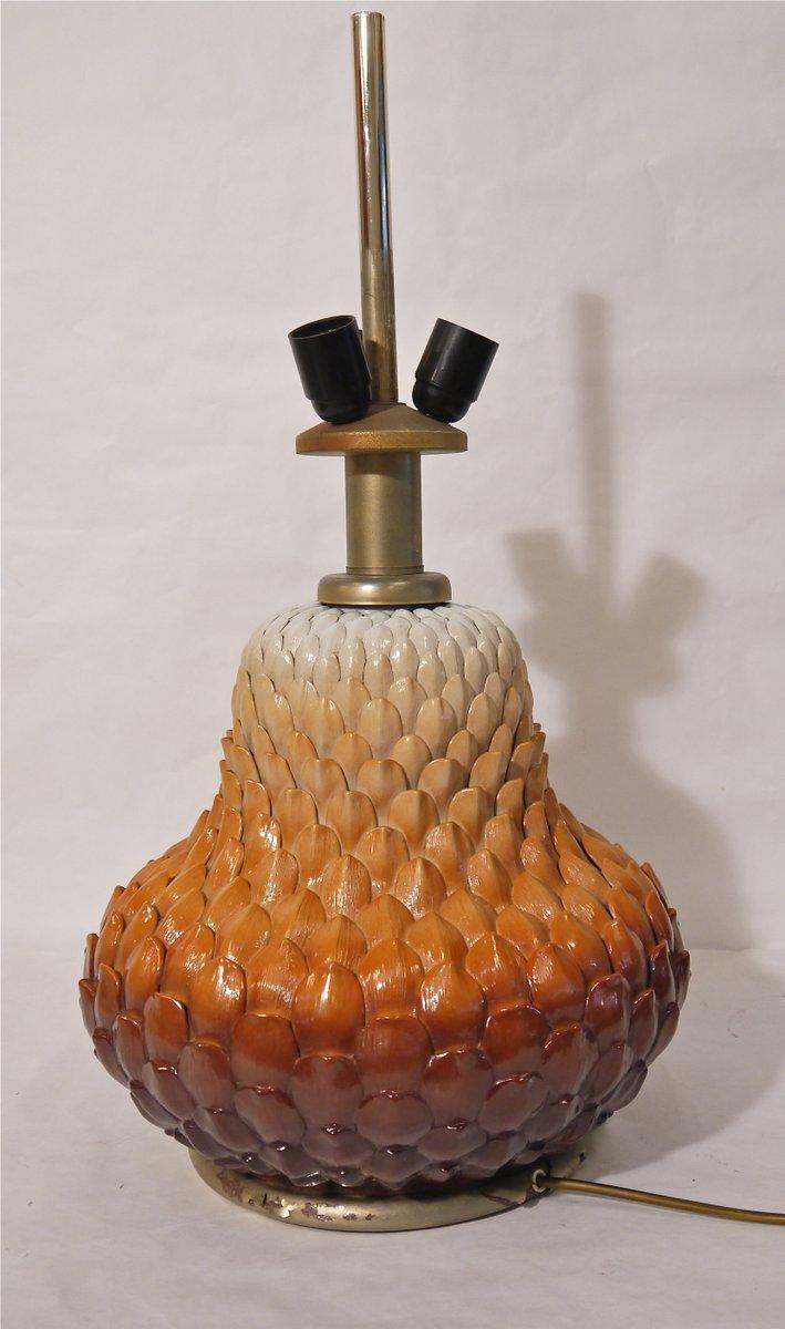 Lampe de bureau en forme de pomme de pin en porcelaine for Lampe pomme de pin