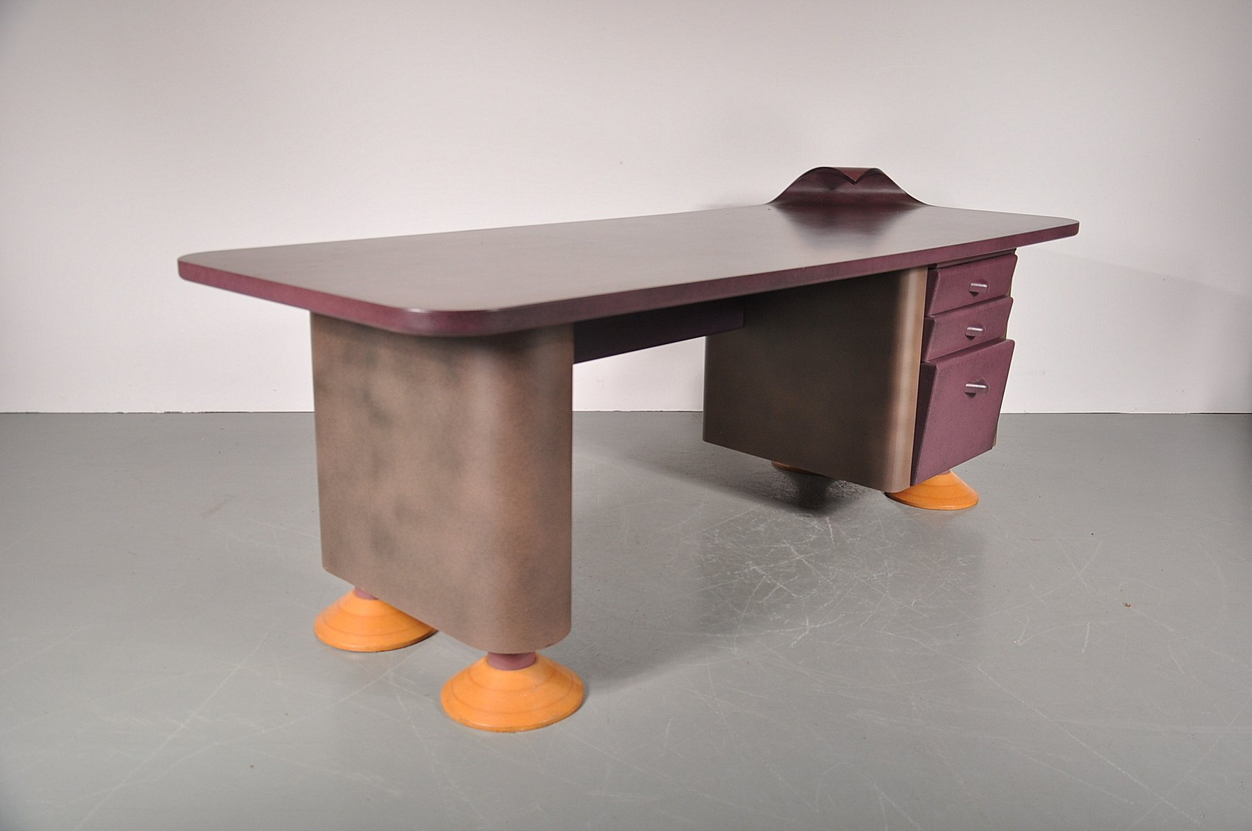 Postmodern Desk with Wave Corner, 1980s for sale at Pamono