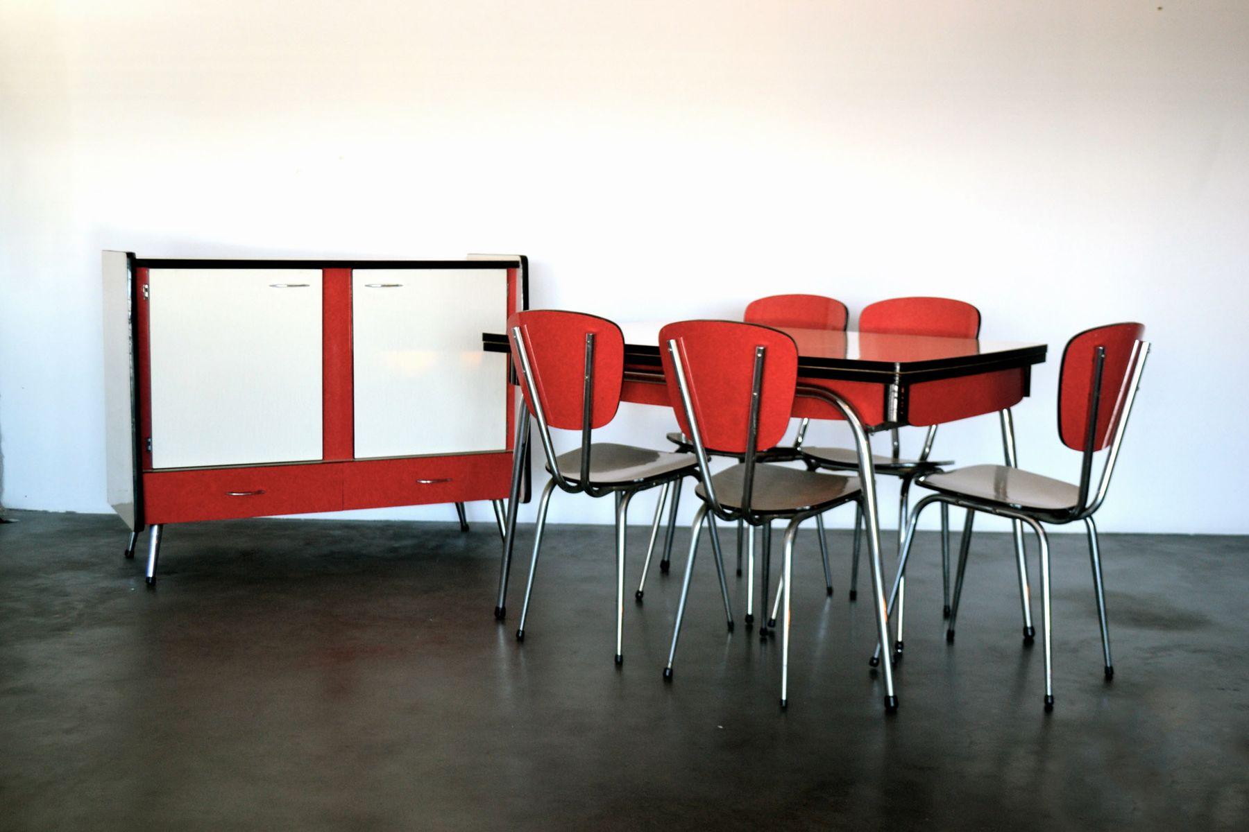 rote franz sische esszimmer einrichtung 1970er bei pamono kaufen. Black Bedroom Furniture Sets. Home Design Ideas