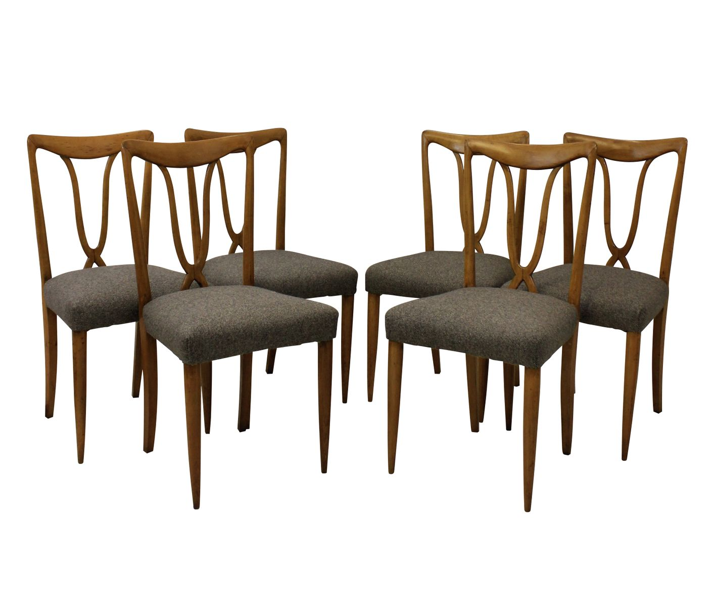 Italian Cherry Dining Chairs 1950s Set Of 6 For Sale At