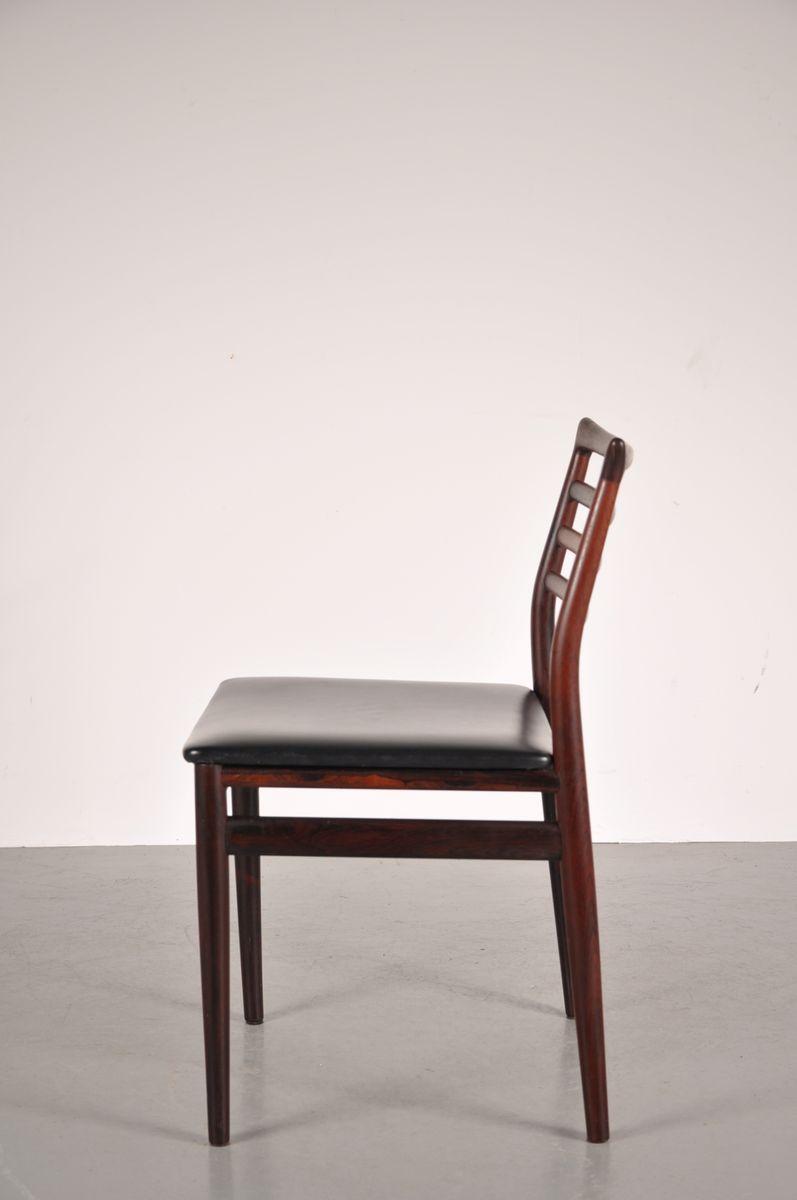 Sedie da pranzo in palissandro e vinile anni 39 50 set di for Sedie da pranzo design