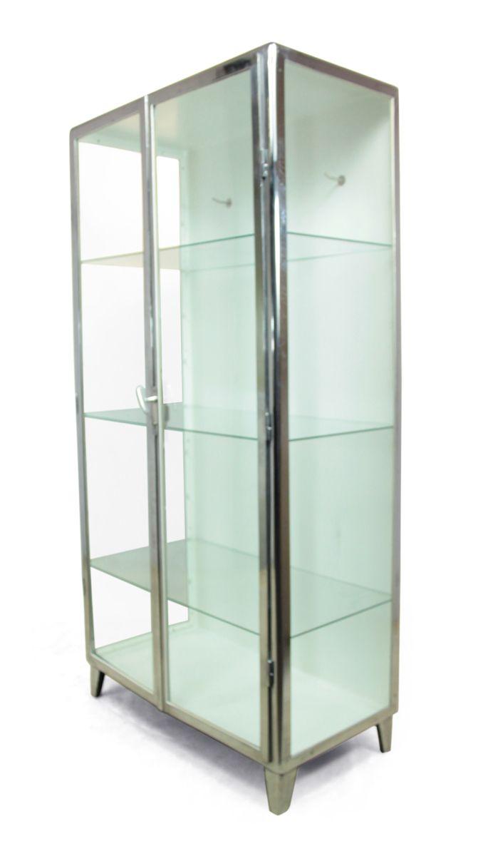 armoire pharmacie vitr e en acier poli 1930s en vente. Black Bedroom Furniture Sets. Home Design Ideas