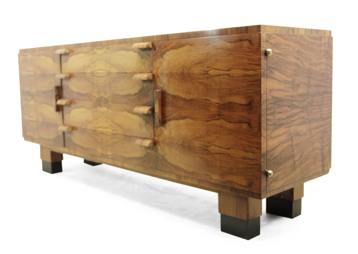 vintage art deco walnut sideboard 1930s for sale at pamono. Black Bedroom Furniture Sets. Home Design Ideas