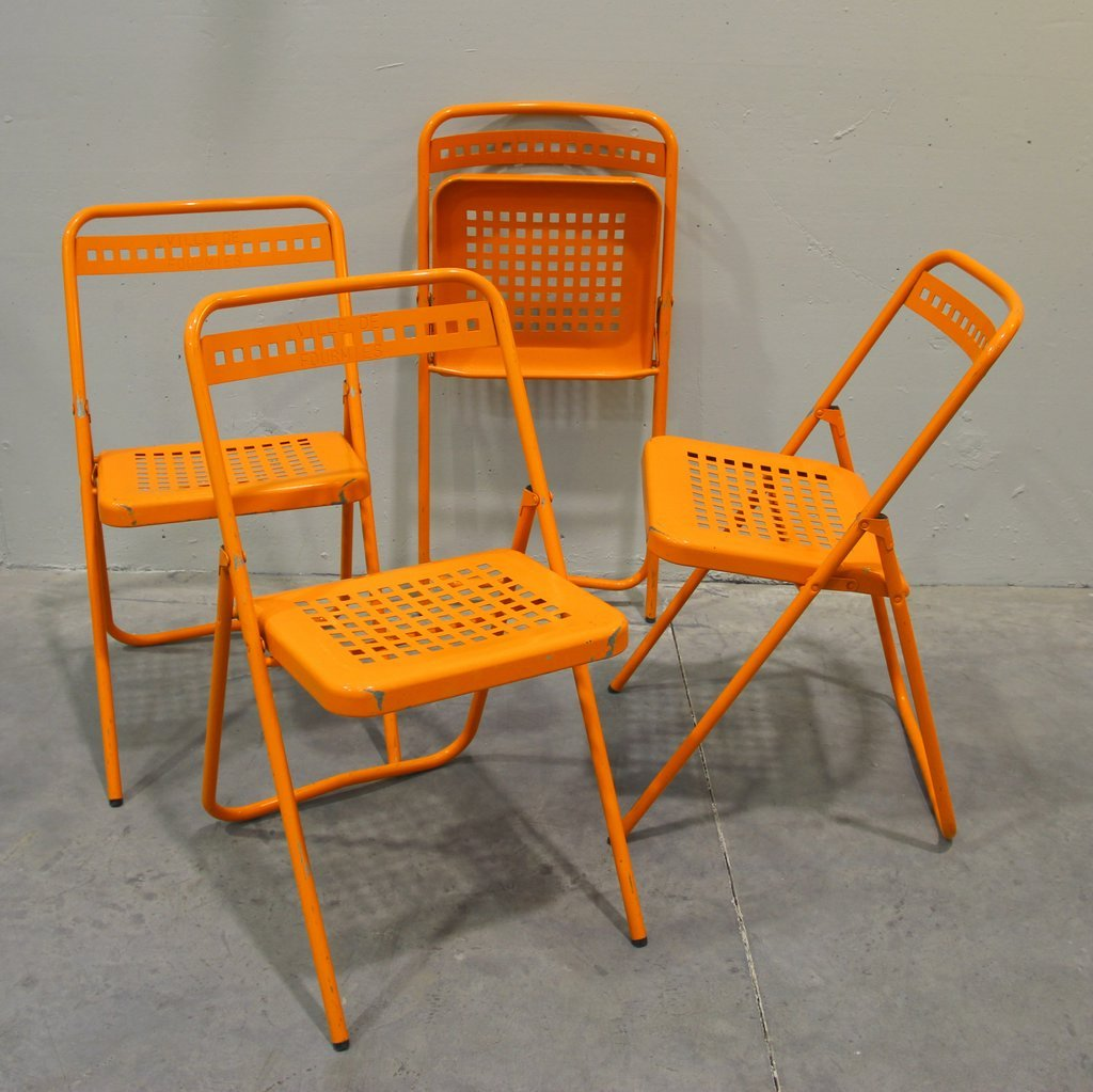 Folding garden chairs set of 4 for sale at pamono for Fold up garden chairs