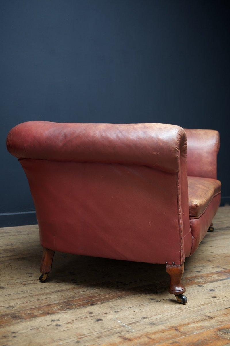 Viktorianisches Sofa aus Leder in Rot, 1890er bei Pamono kaufen