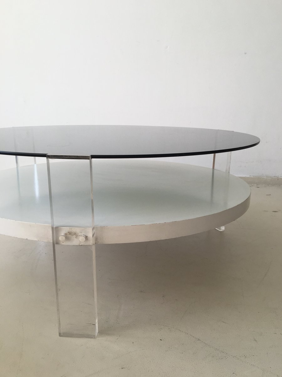 Vintage Space Age Coffee Table With Perspex Feet 1970s For Sale At Pamono