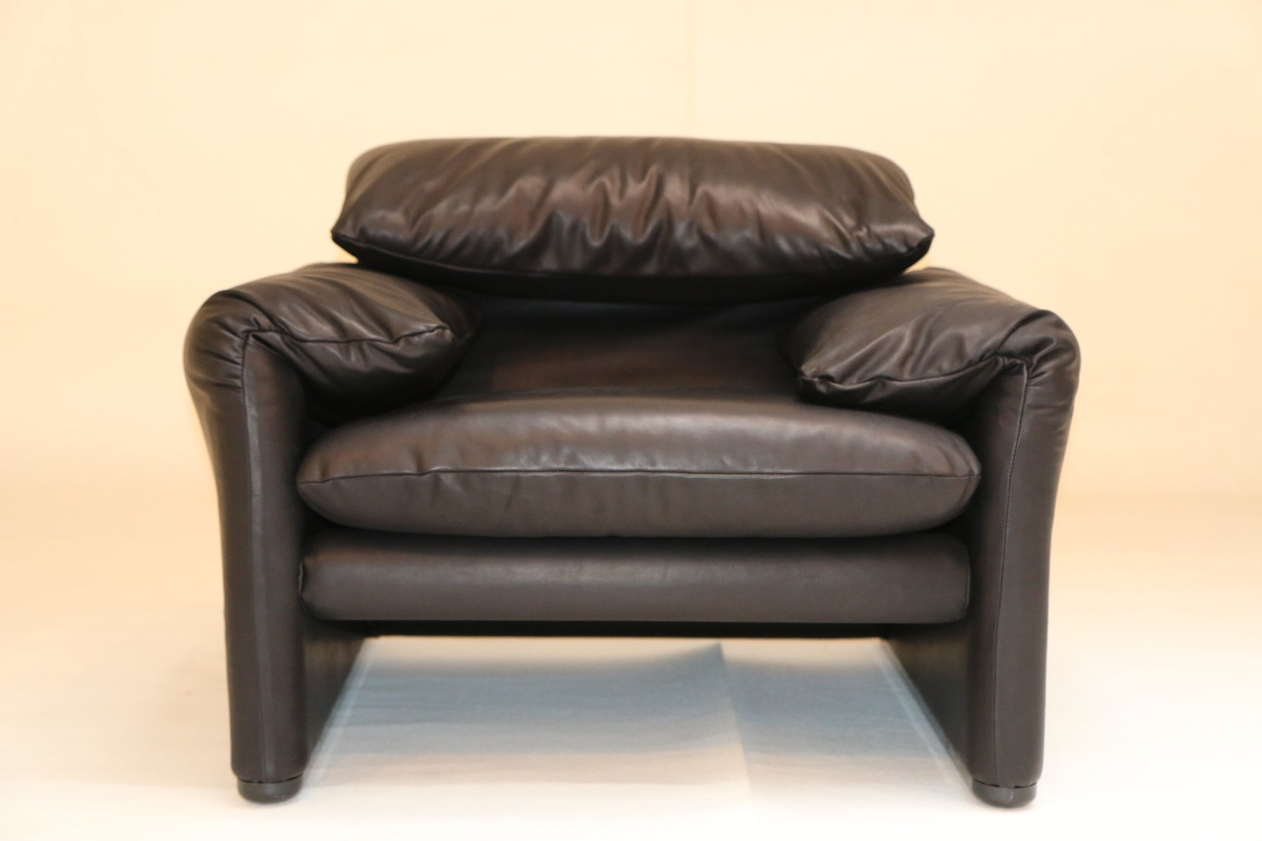 vintage black leather maralunga easy chairs by vico magistretti for