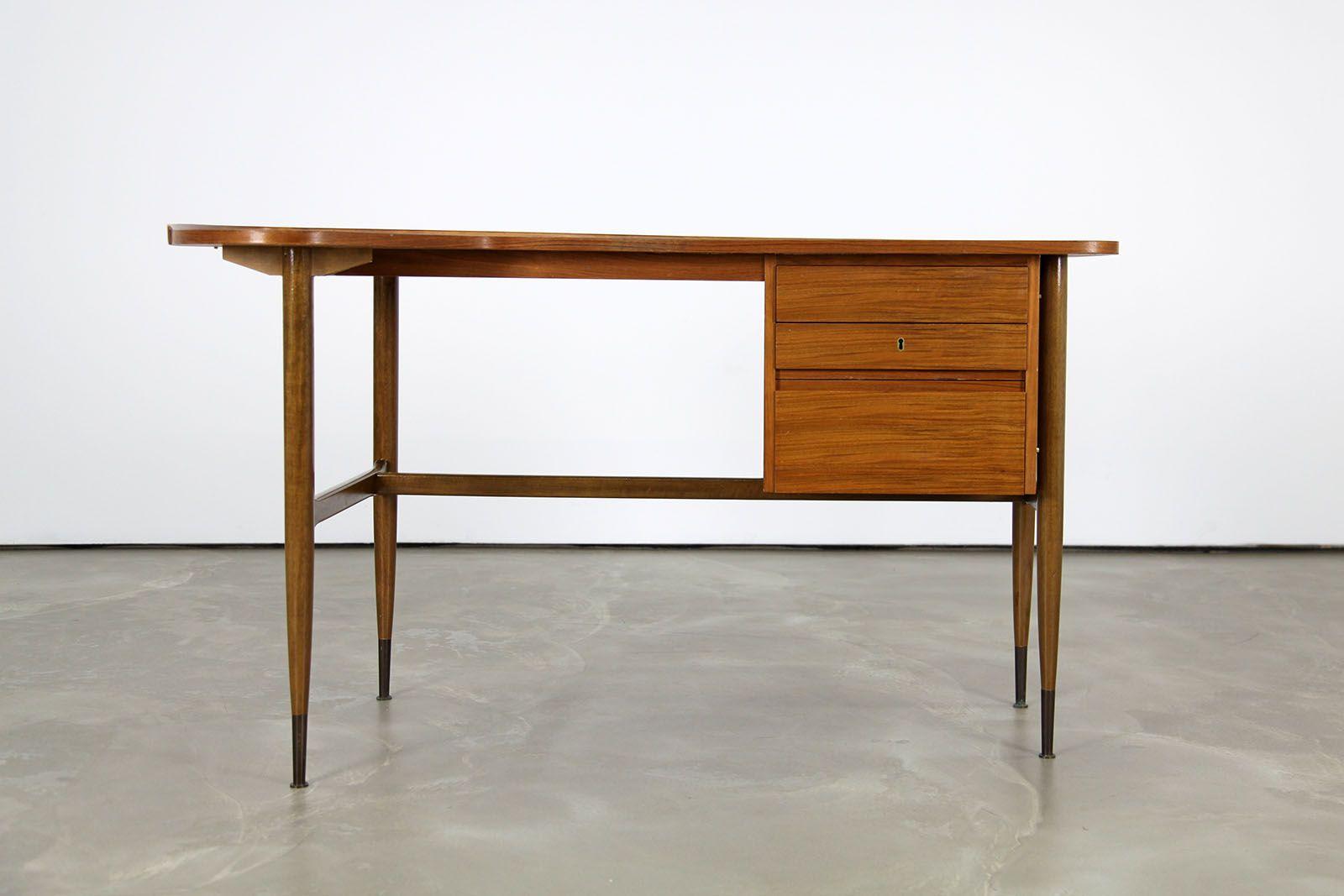 gebogener mid century nussholz schreibtisch 1960er bei. Black Bedroom Furniture Sets. Home Design Ideas