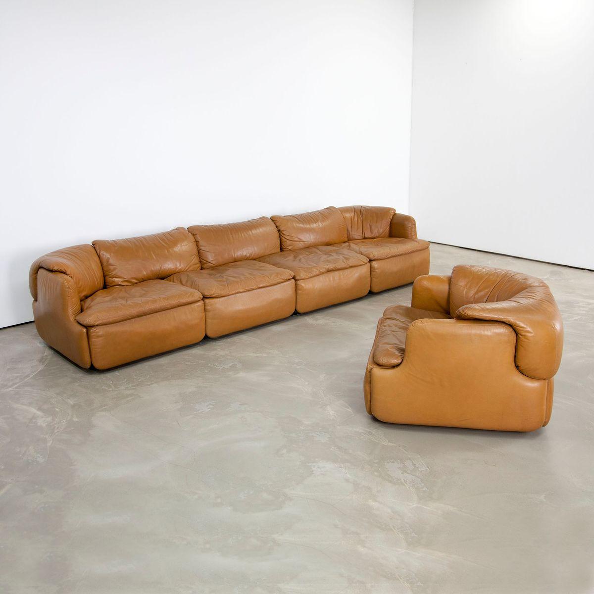 leder 4 sitzer sofa und sessel von alberto rosselli f r saporiti bei pamono kaufen. Black Bedroom Furniture Sets. Home Design Ideas