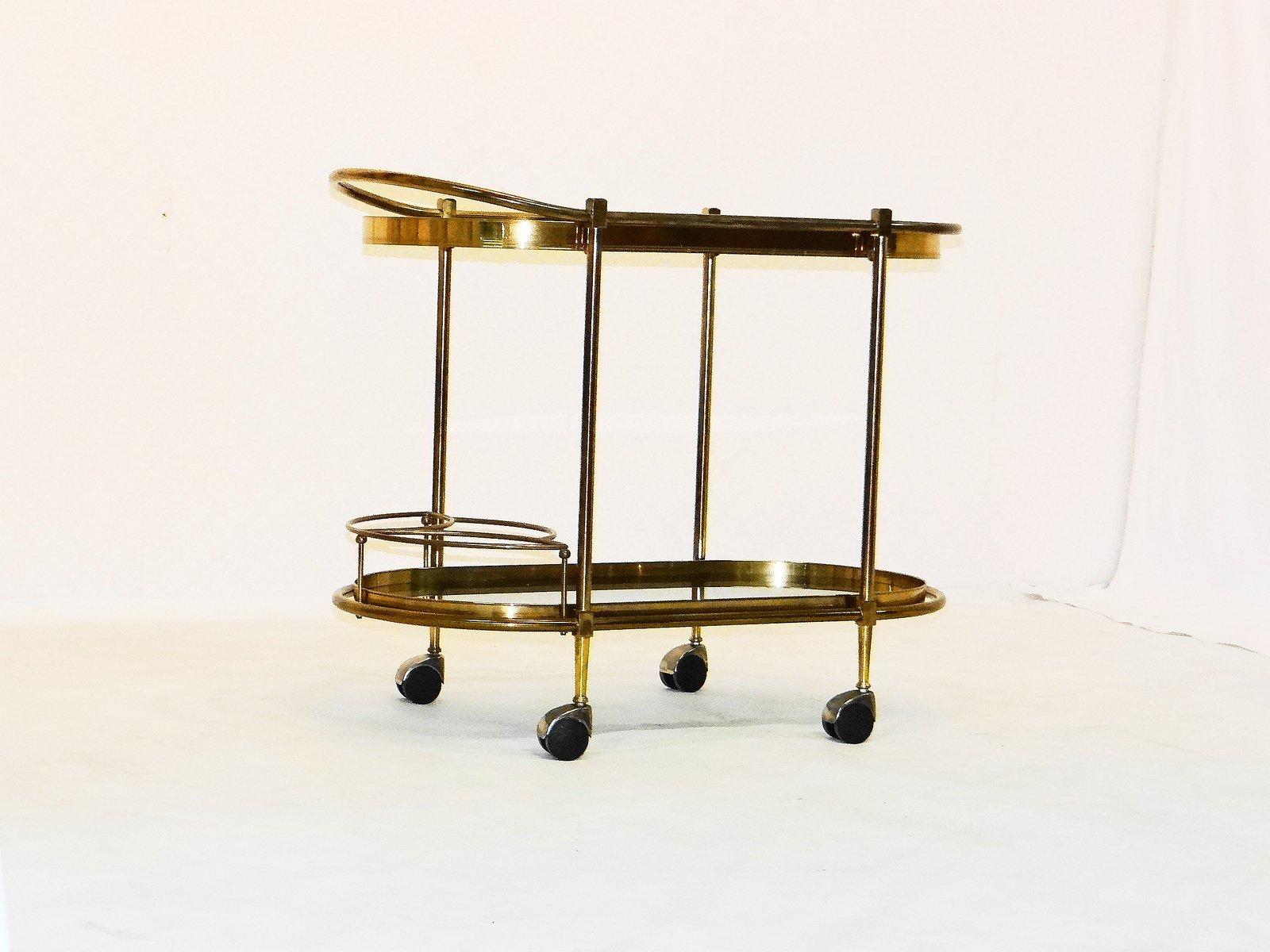 chariot de service vintage en laiton france en vente sur pamono. Black Bedroom Furniture Sets. Home Design Ideas
