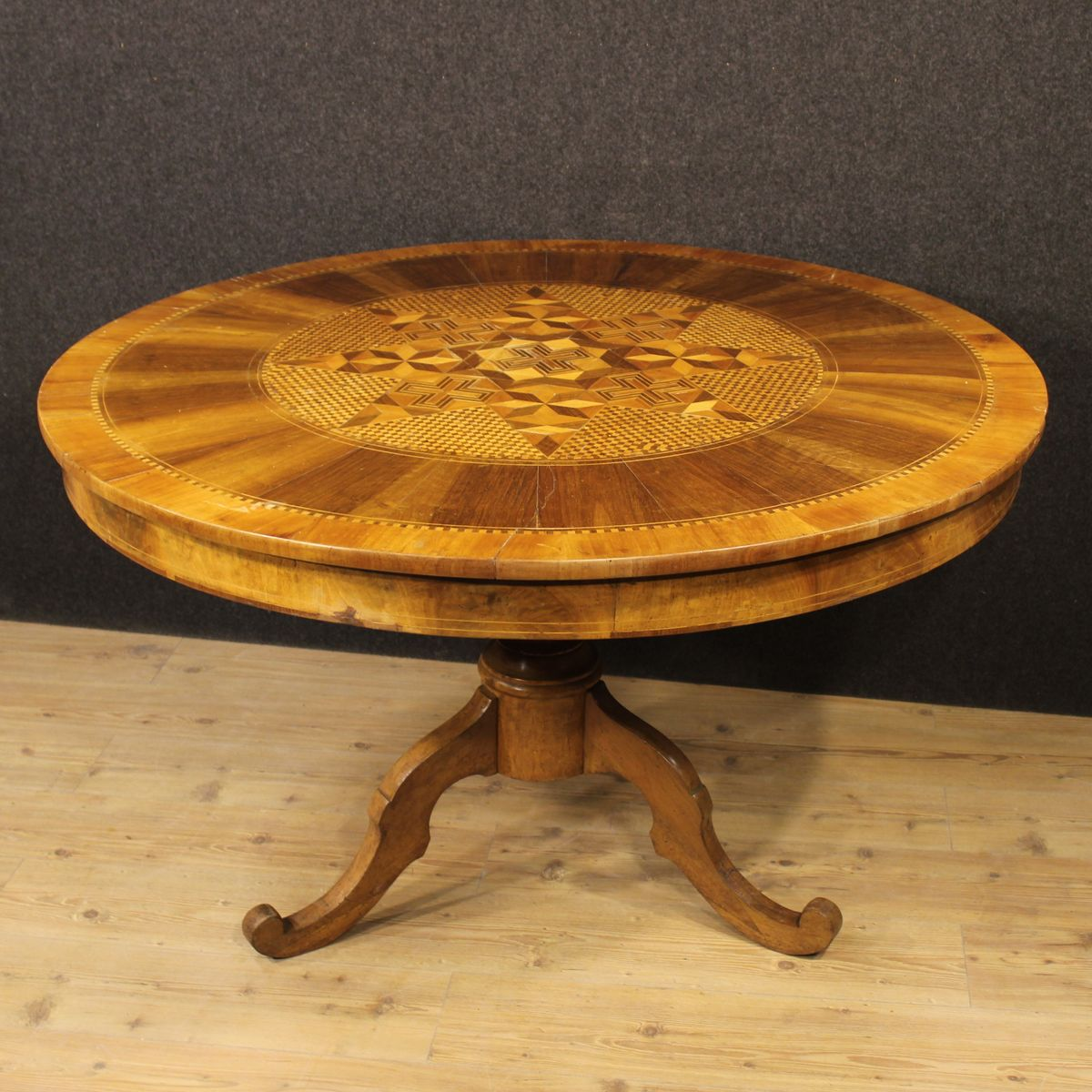 Antique Italian Carved Table With Inlaid Wood