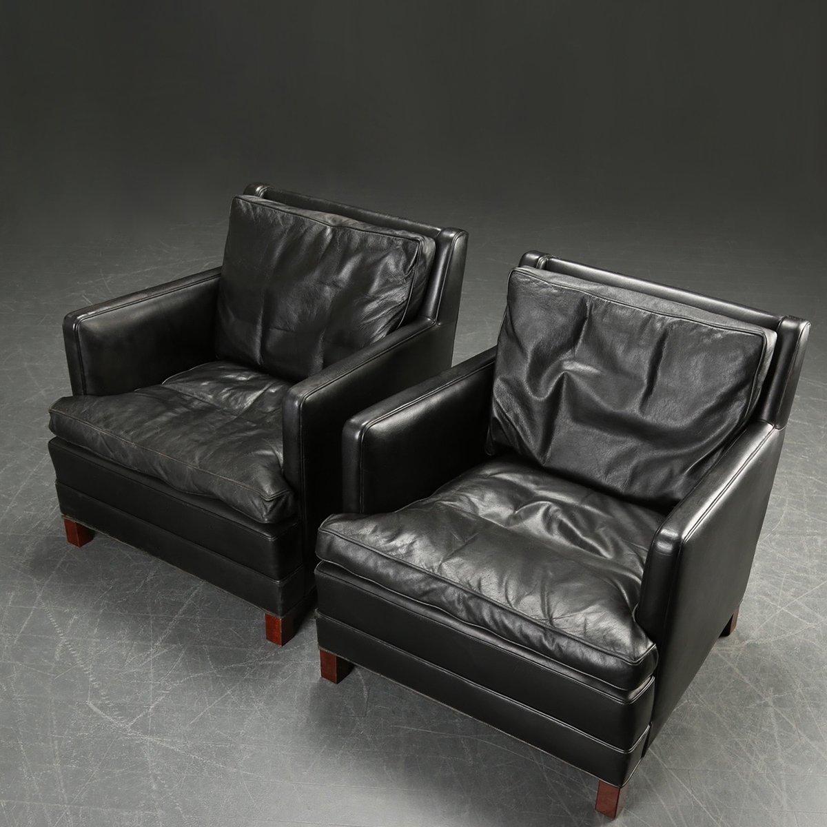D nische sessel aus schwarzem leder von borge mogensen for Sessel aus leder