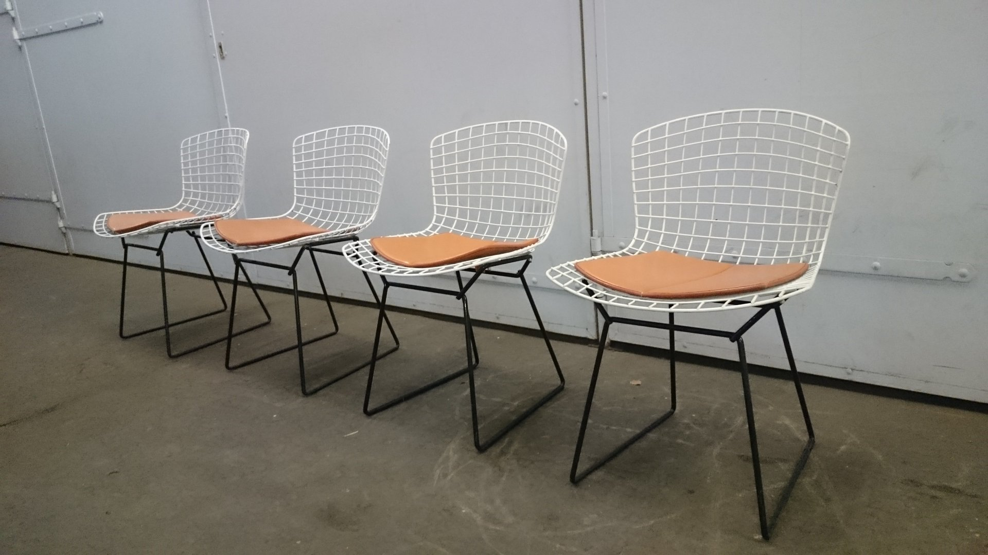 white & black wire chairs by harry bertoia for knoll, set of 4 for