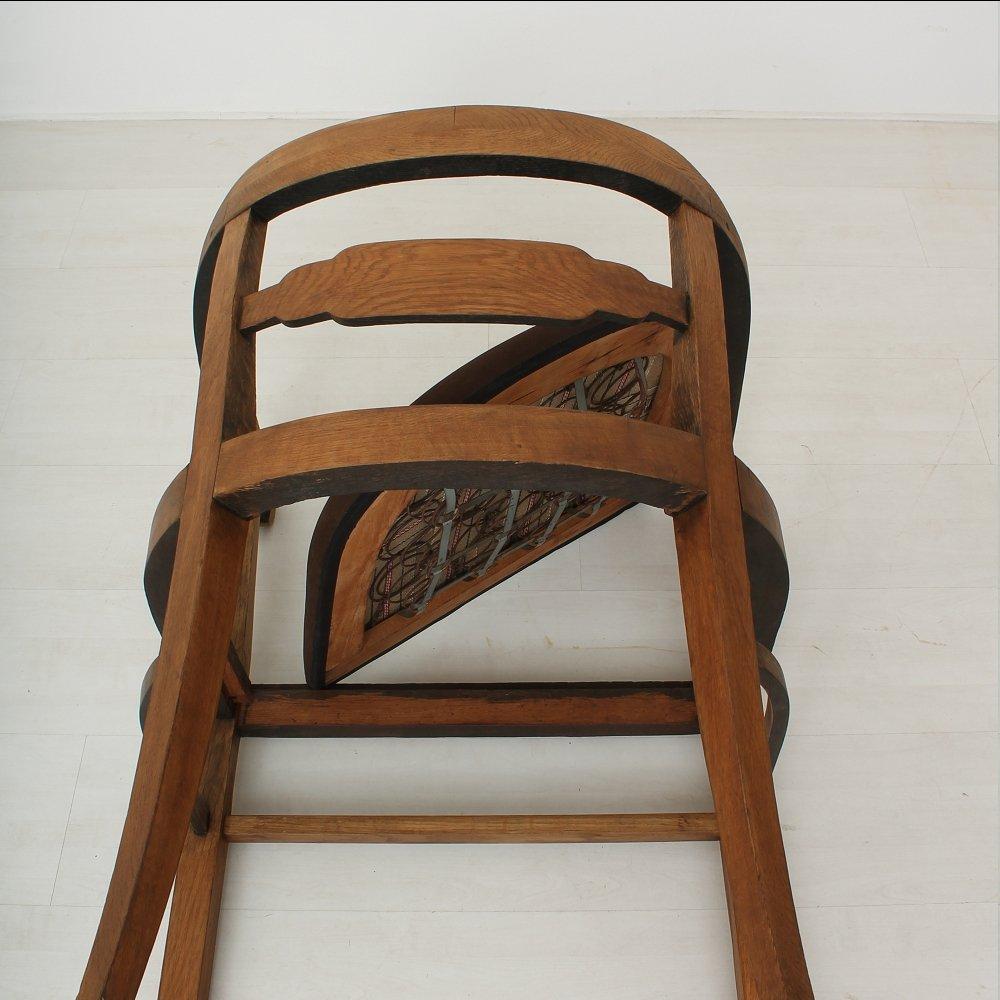 vintage art deco armlehnstuhl aus eichenholz leder. Black Bedroom Furniture Sets. Home Design Ideas