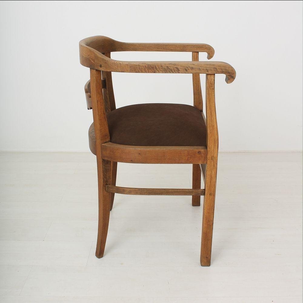 vintage art deco armlehnstuhl aus eichenholz leder 1920er bei pamono kaufen. Black Bedroom Furniture Sets. Home Design Ideas