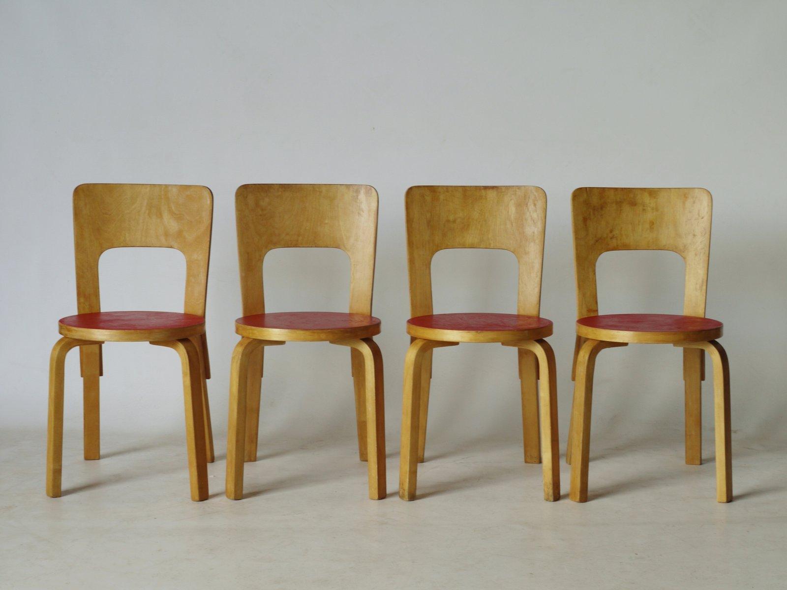 chaises de salon mod le 66 par alvar aalto 1940s set de 4 en vente sur pamono. Black Bedroom Furniture Sets. Home Design Ideas