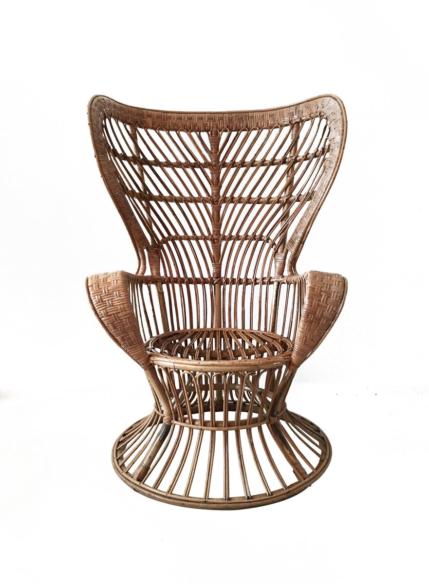 Vintage rattan chair - High Back Rattan Chair 1940s