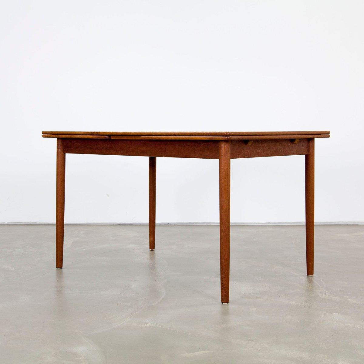 Table de salle manger en teck avec double rallonges 1960s en vente sur pamono - Solde table salle a manger ...