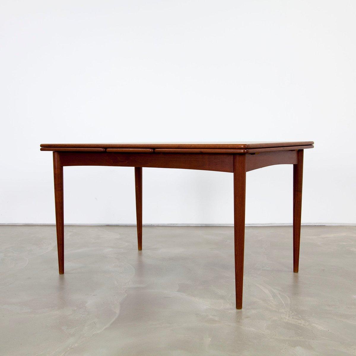 ausziehbarer dunkler teak esstisch 1960er bei pamono kaufen. Black Bedroom Furniture Sets. Home Design Ideas