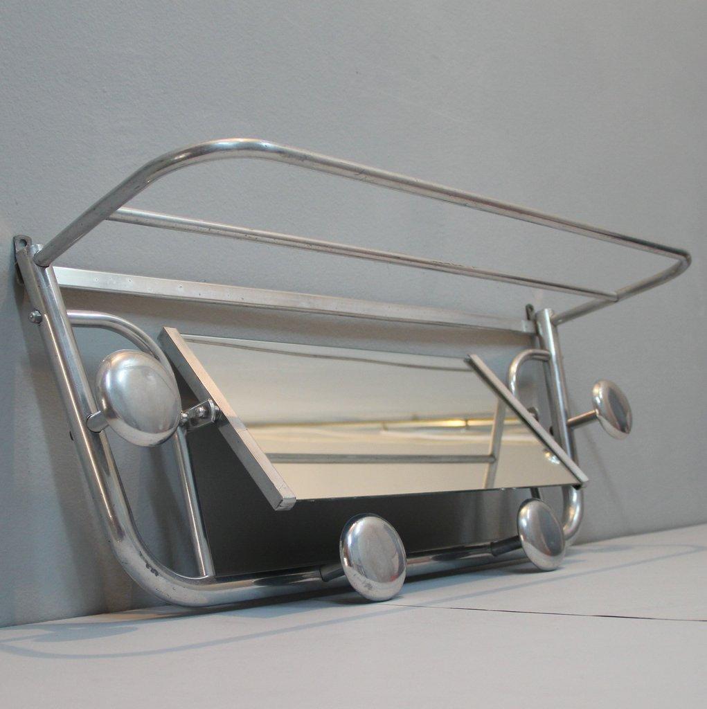 art deco aluminium garderobe mit spiegel bei pamono kaufen. Black Bedroom Furniture Sets. Home Design Ideas