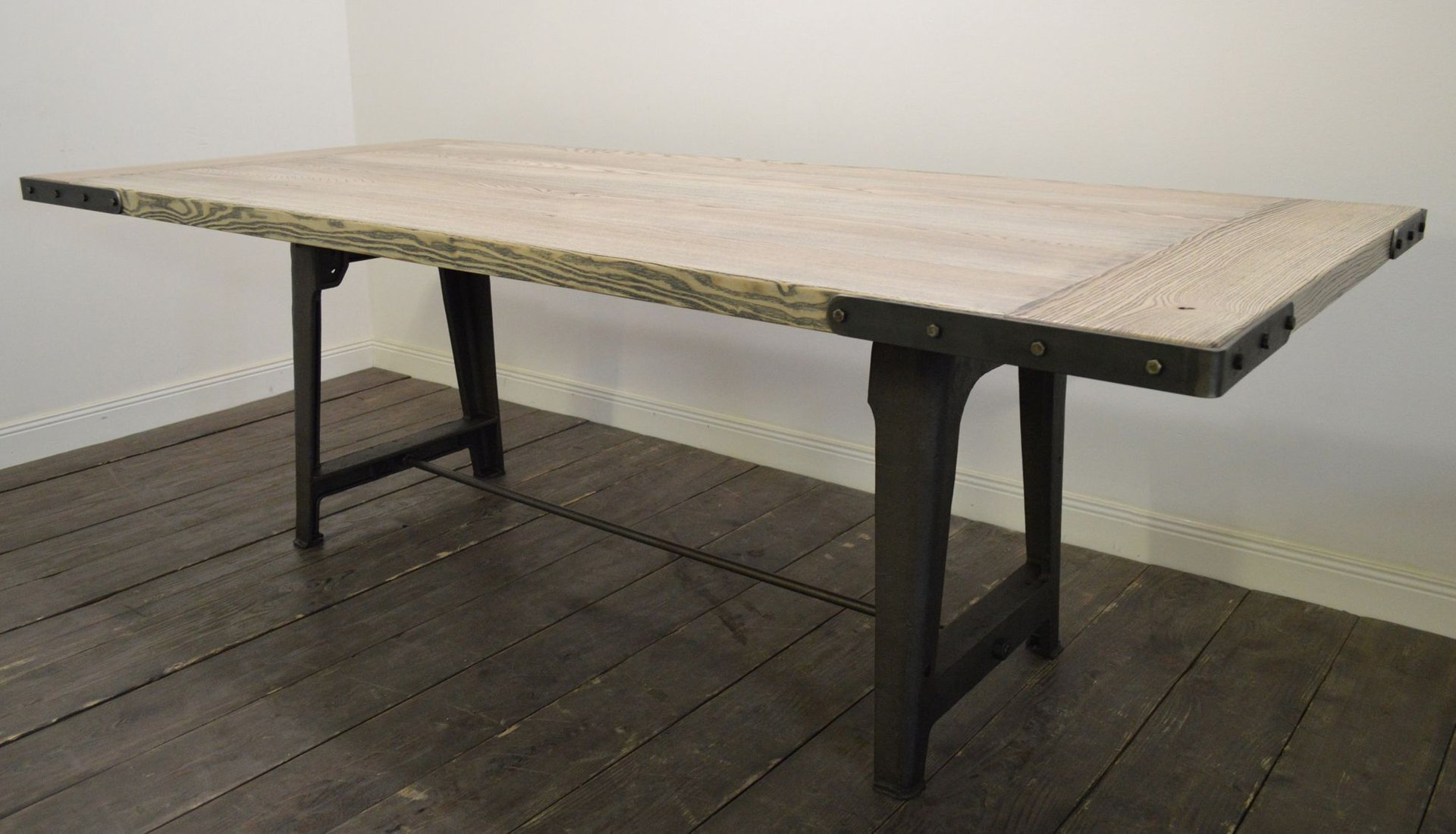 Large ash industrial dining table for sale at pamono - Table ronde industrielle ...
