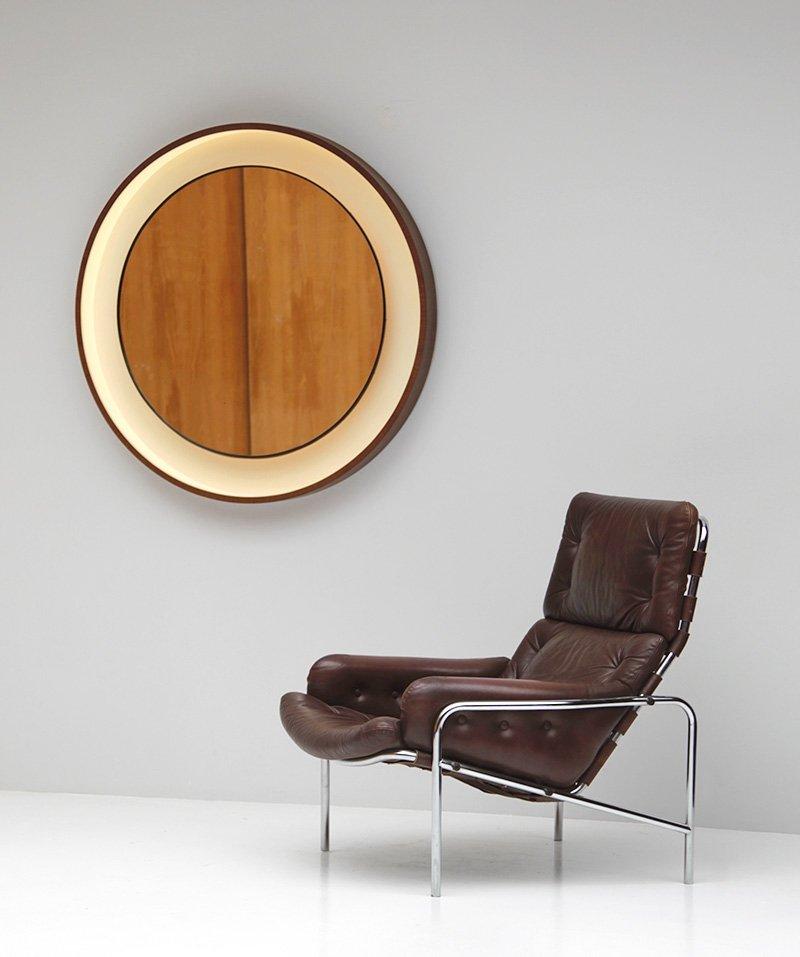 dekorativer spiegel mit holzrahmen 1960er bei pamono kaufen. Black Bedroom Furniture Sets. Home Design Ideas