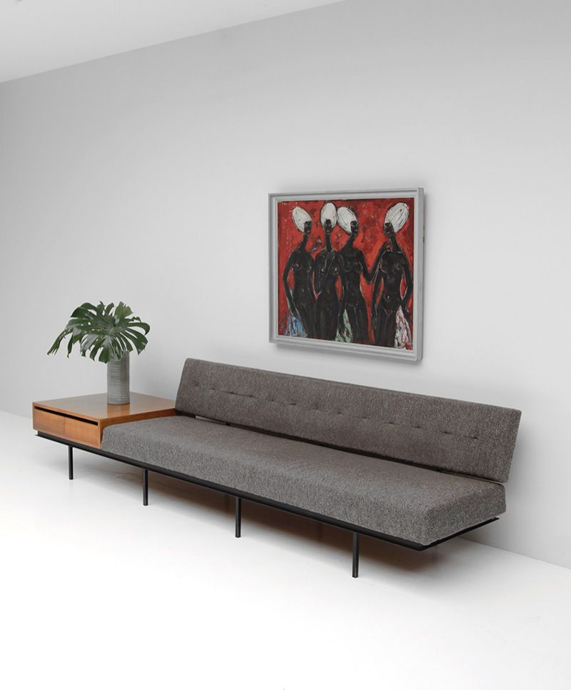 sofa mit ablage von florence knoll bei pamono kaufen. Black Bedroom Furniture Sets. Home Design Ideas